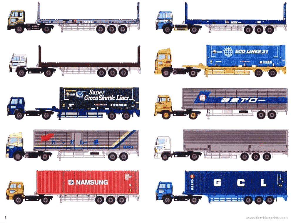 Other Semi Trailer Heavy Truck blueprints free - Outlines