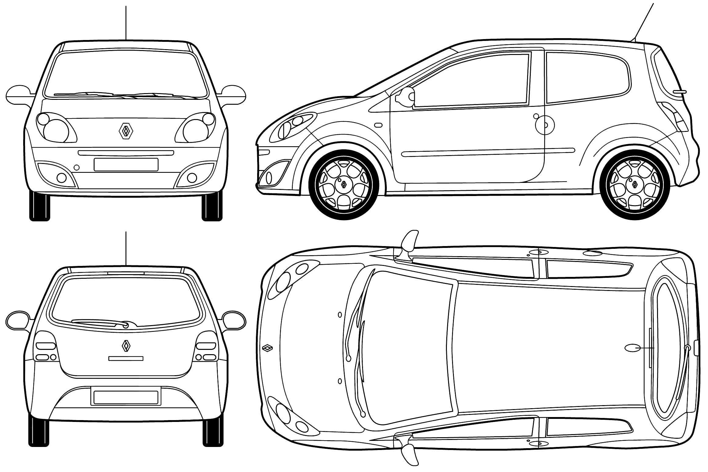 2007 renault twingo ii hatchback blueprints free