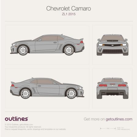 2015 Chevrolet Camaro blueprints - Outlines