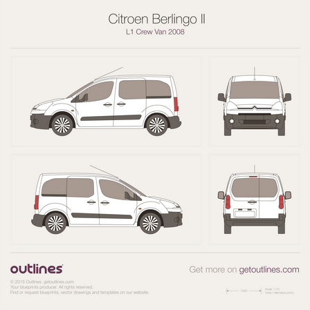 Citroen berlingo blueprints and drawings for wrapping and 3d image citroen berlingo ii l1 crew van 2008g malvernweather Images