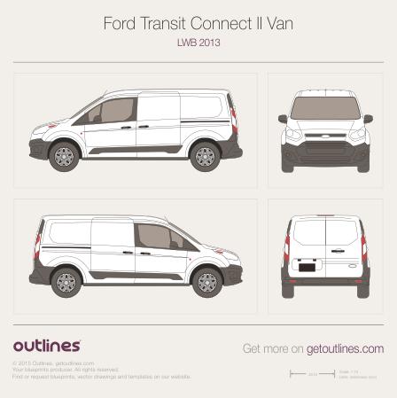 2013 Ford Transit Connect blueprints - Outlines