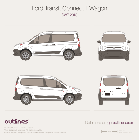 Used Ford Transit Connect >> 2013 Ford Transit Connect blueprints - Outlines