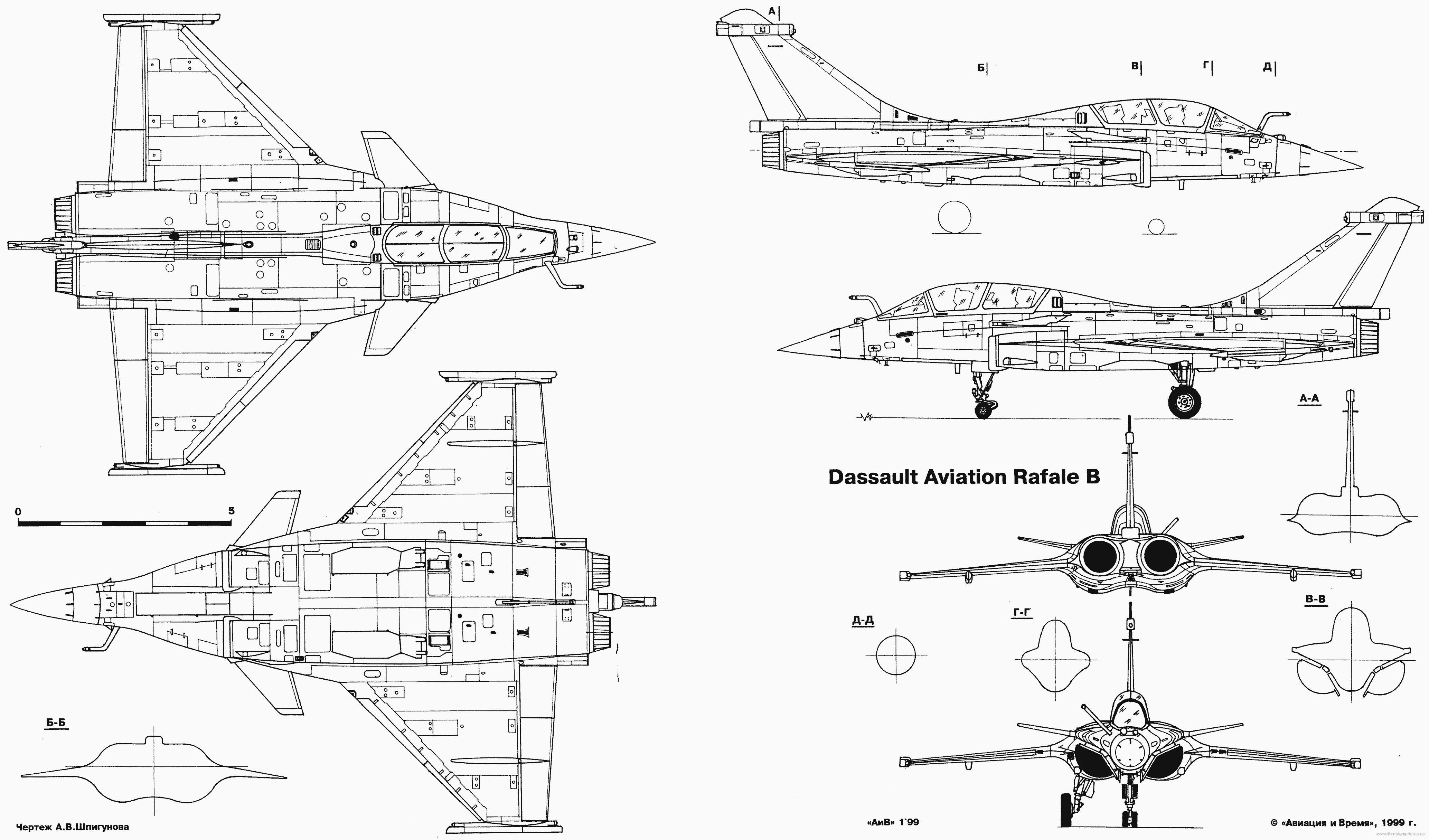 Dassault Rafale B blueprints free - Outlines