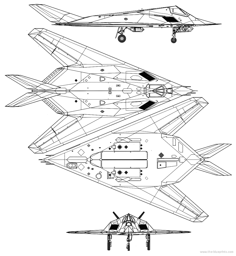 Lockheed f 117a nighthawk blueprints free outlines for Where to get blueprints