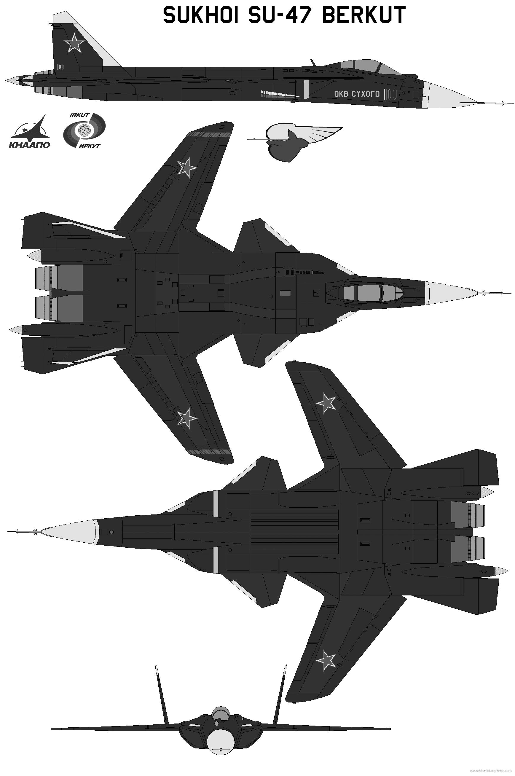 Sukhoi SU-47 Berkut blueprints free - Outlines