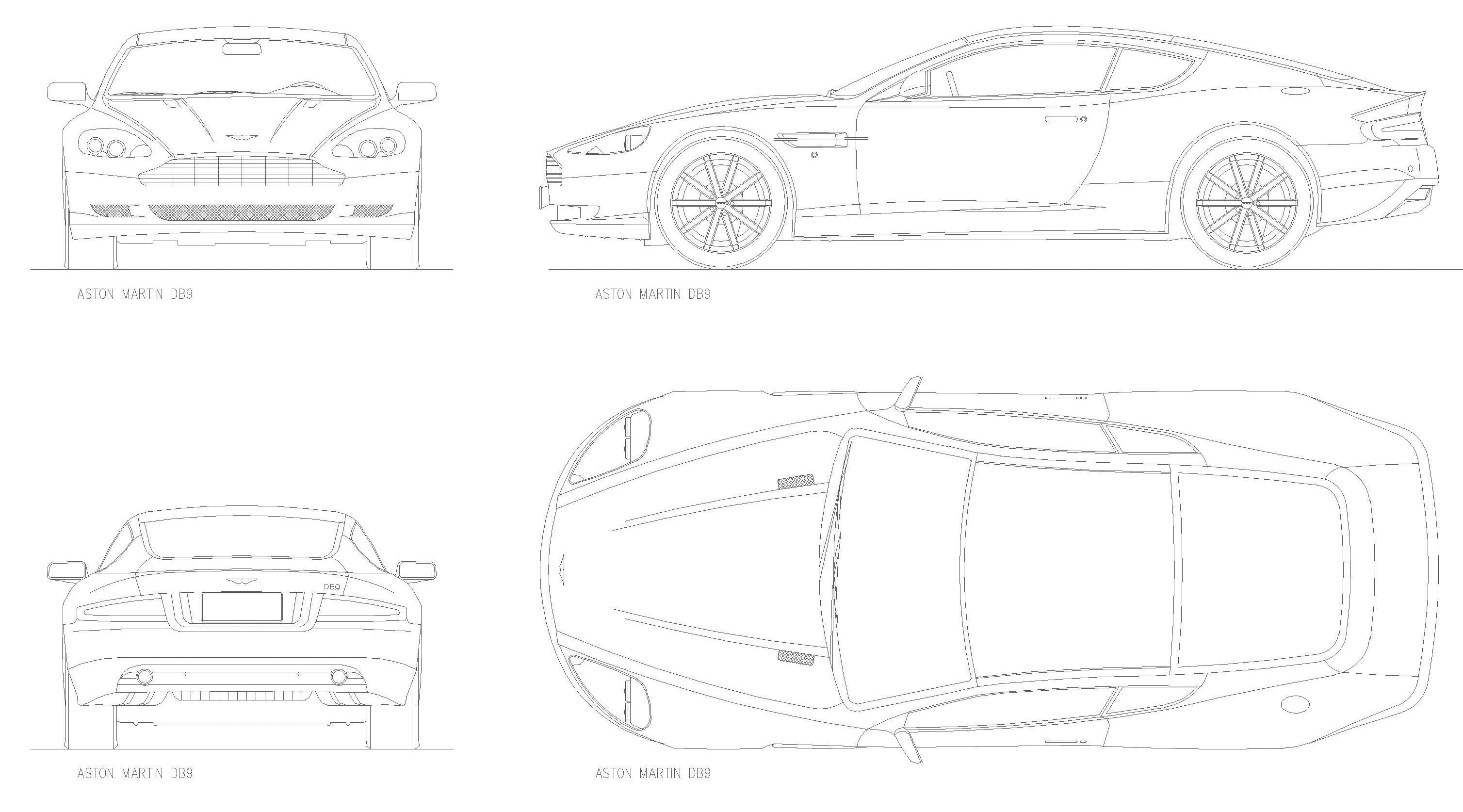 2008 Aston Martin Db9 Coupe Blueprints Free Outlines