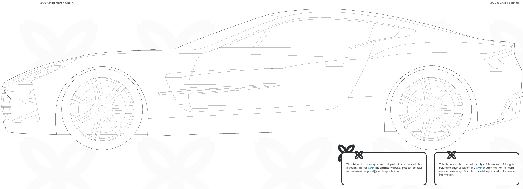 2009 Aston Martin One 77 Coupe Blueprints Free Outlines
