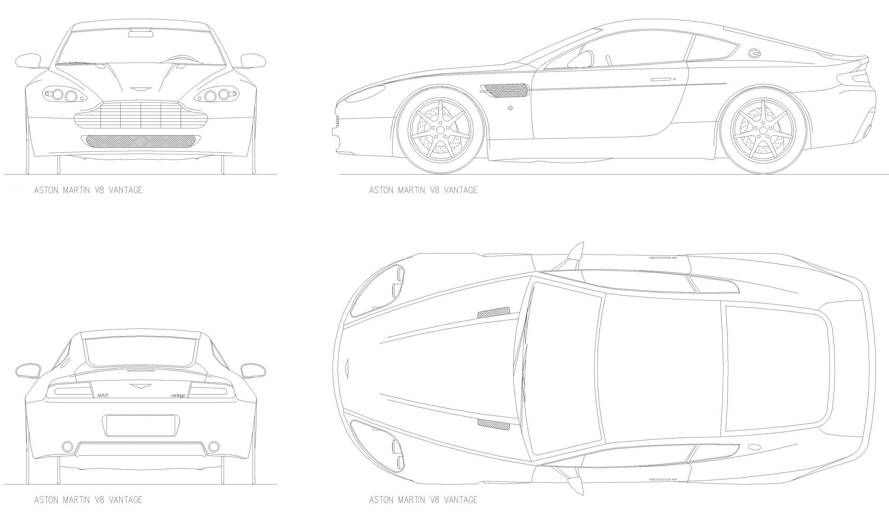 2006 Aston Martin V8 Vantage Coupe Blueprints Free Outlines
