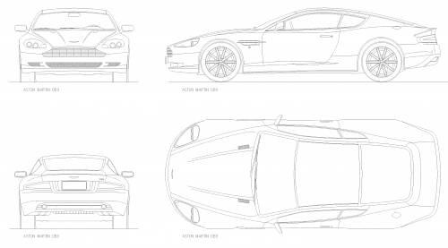 2010 aston martin db9 coupe blueprints free