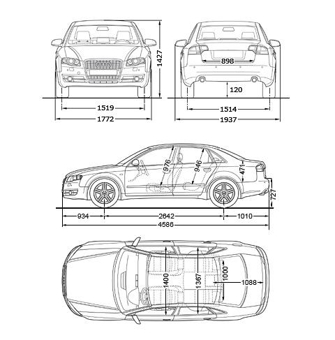 2006 audi a4 b7 typ 8e limousine sedan blueprints free. Black Bedroom Furniture Sets. Home Design Ideas