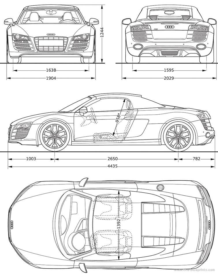 2011 Audi R8 Spyder 5.2 FSi Quattro Roadster blueprints free - Outlines
