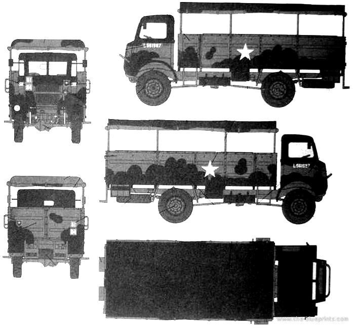 Bedford QLD 3-ton 4x4 Troopcarrier Heavy Truck Blueprints