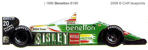 Benetton B186 F1 blueprints
