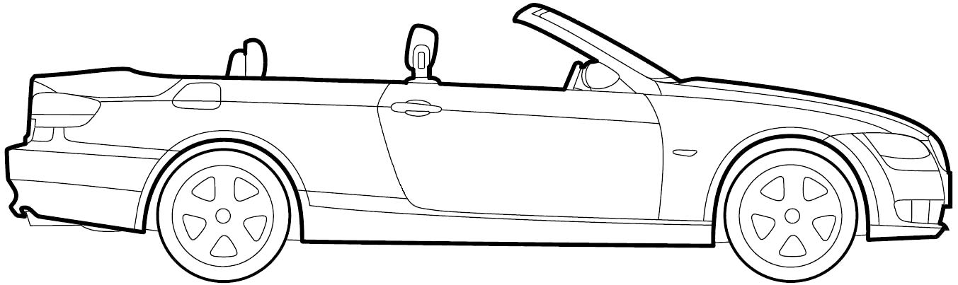 2009 Bmw 3 Series E93 Cabriolet Blueprints Free Outlines