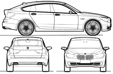 2009 bmw 5-series gt hatchback blueprints free