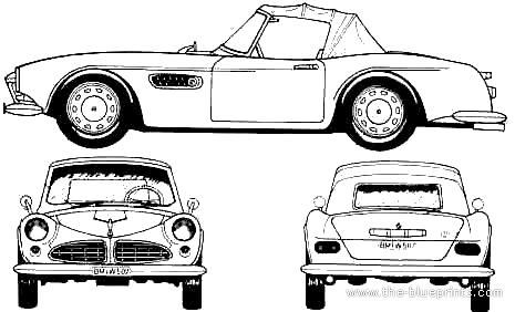 1957 Bmw 507 Cabriolet Blueprints Free Outlines