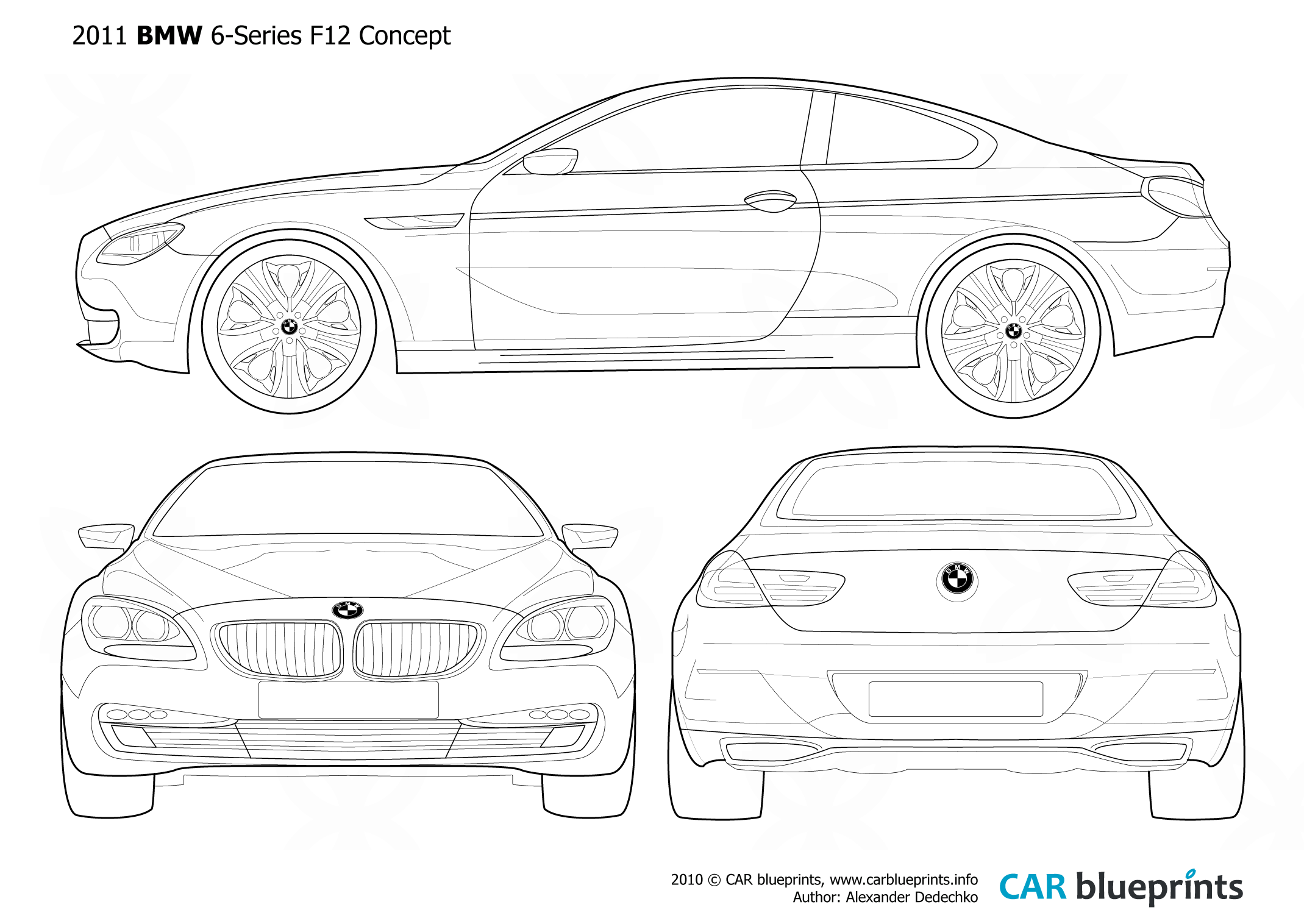 2011 BMW 6-Series F12 Concept Coupe blueprints free - Outlines