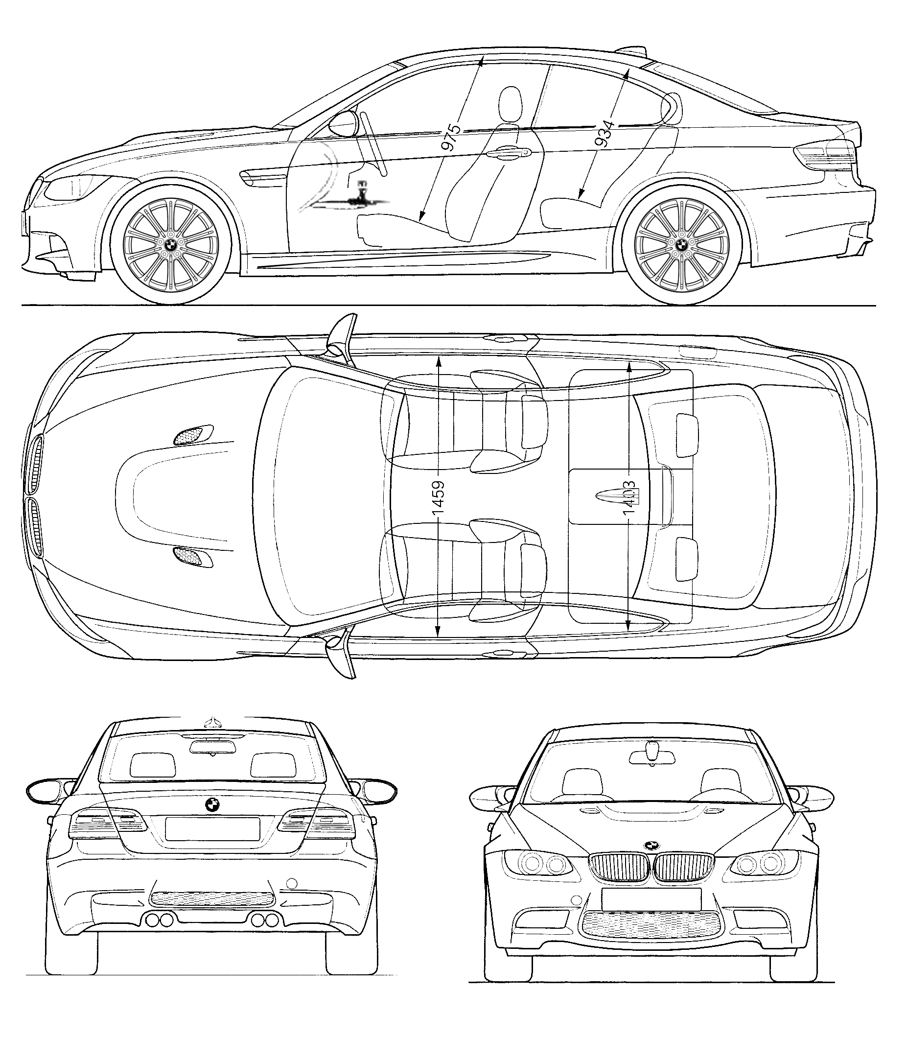 2009 bmw m3 e92 coupe blueprints free