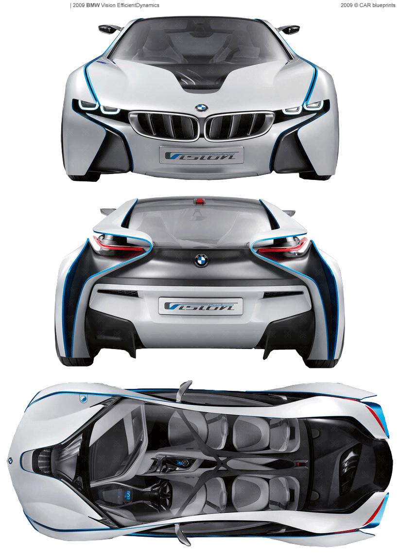 2009 BMW Vision EfficientDynamics Coupe blueprints free - Outlines
