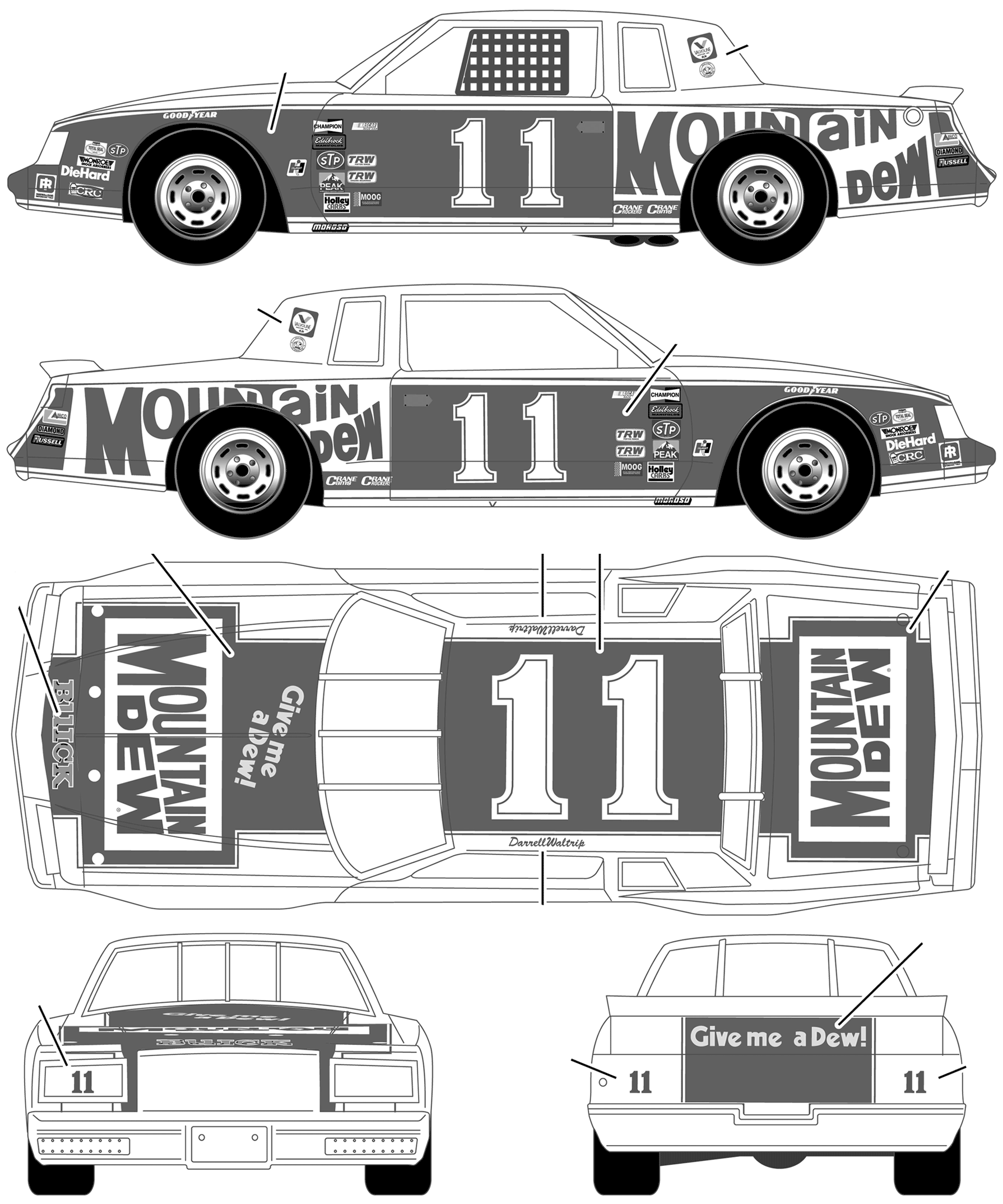 Buick Stock Car No 11 Darrell Waltrip Mountain Dew Blueprints