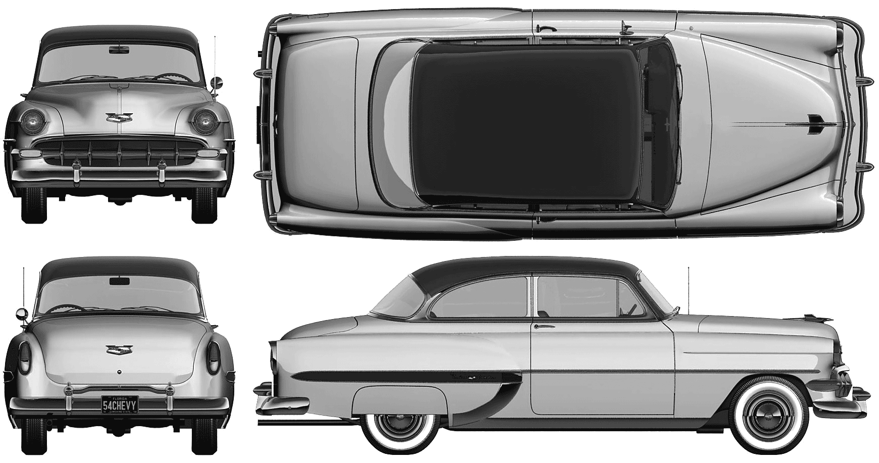 1954 Chevrolet Bel Air 2 Door Sedan Blueprints Free Outlines Chevy