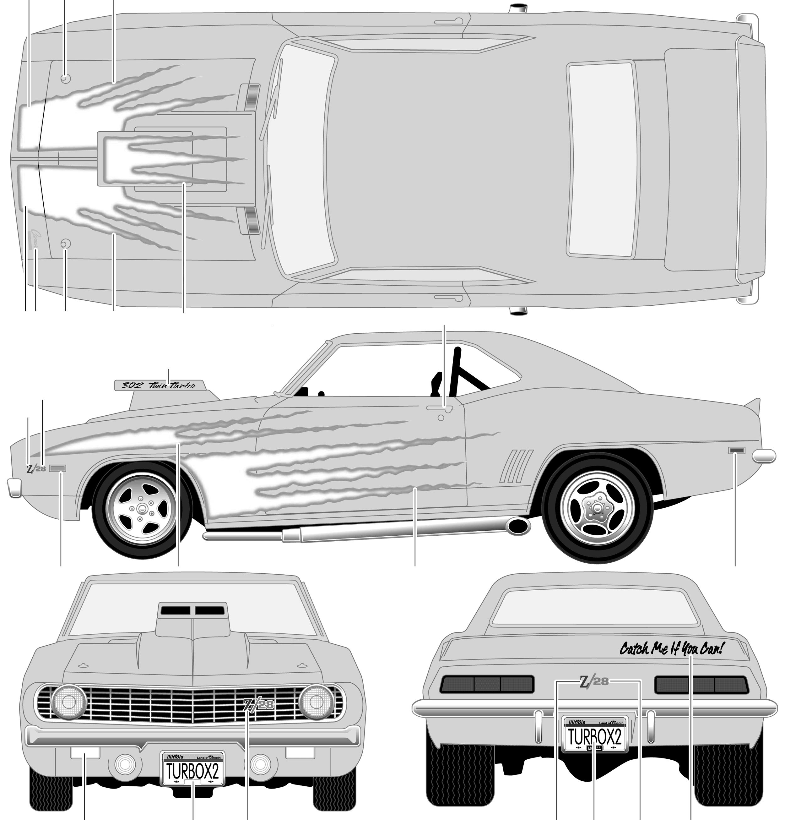 1969 Chevrolet Camaro Z-28 Motorworks Coupe blueprints ...