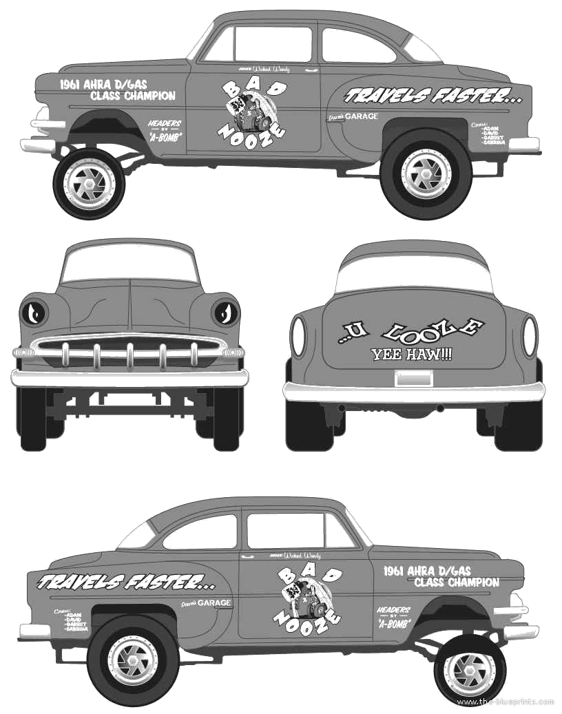 1954 Chevrolet Chevy Gasser Coupe Blueprints Free Outlines Ford Truck Clip Art