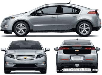 2011 Chevrolet Volt Hatchback Blueprints Free Outlines
