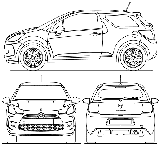 2010 citroen ds3 hatchback blueprints free