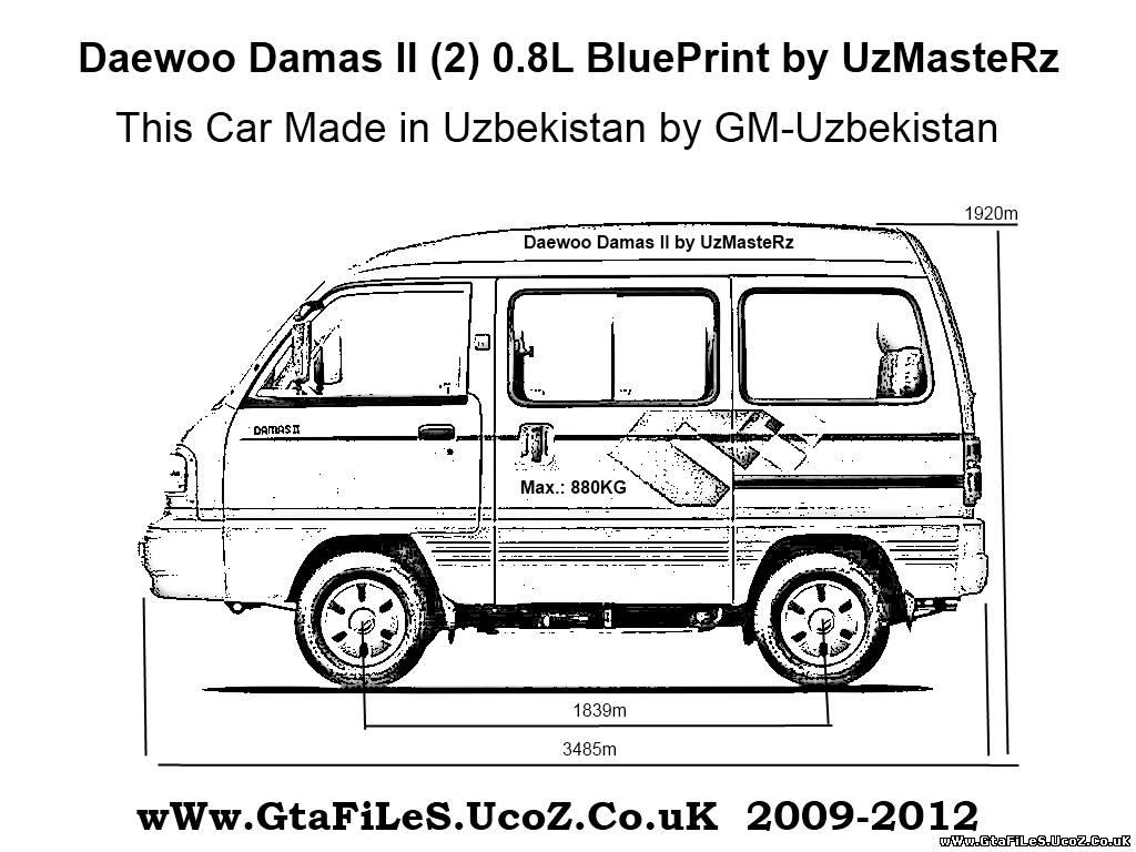 Daewoo Damas II 0.8L blueprints