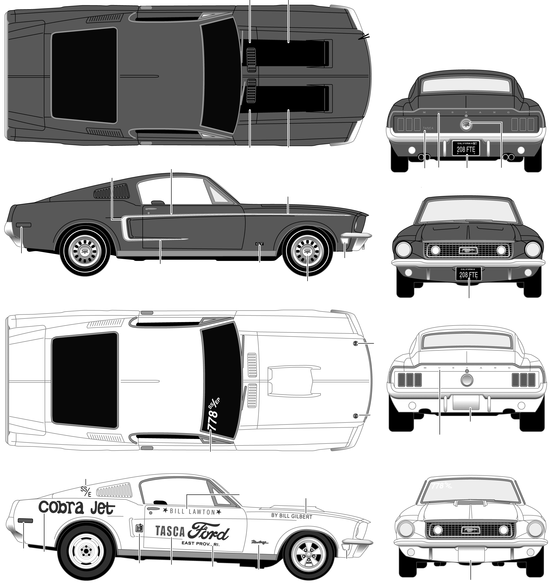 1968 ford mustang gt coupe blueprints free outlines ford mustang gt blueprints malvernweather Images