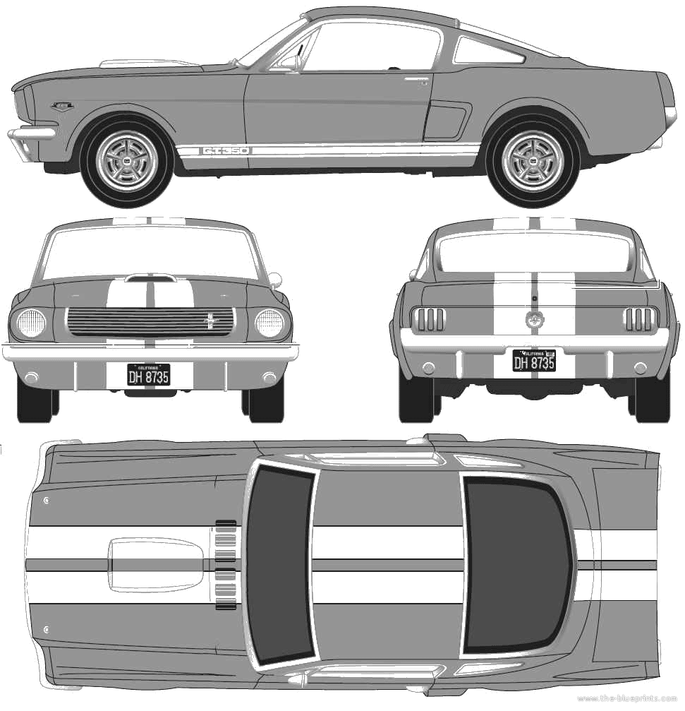 Perfect Ford Shelby Mustang GT350H Blueprints