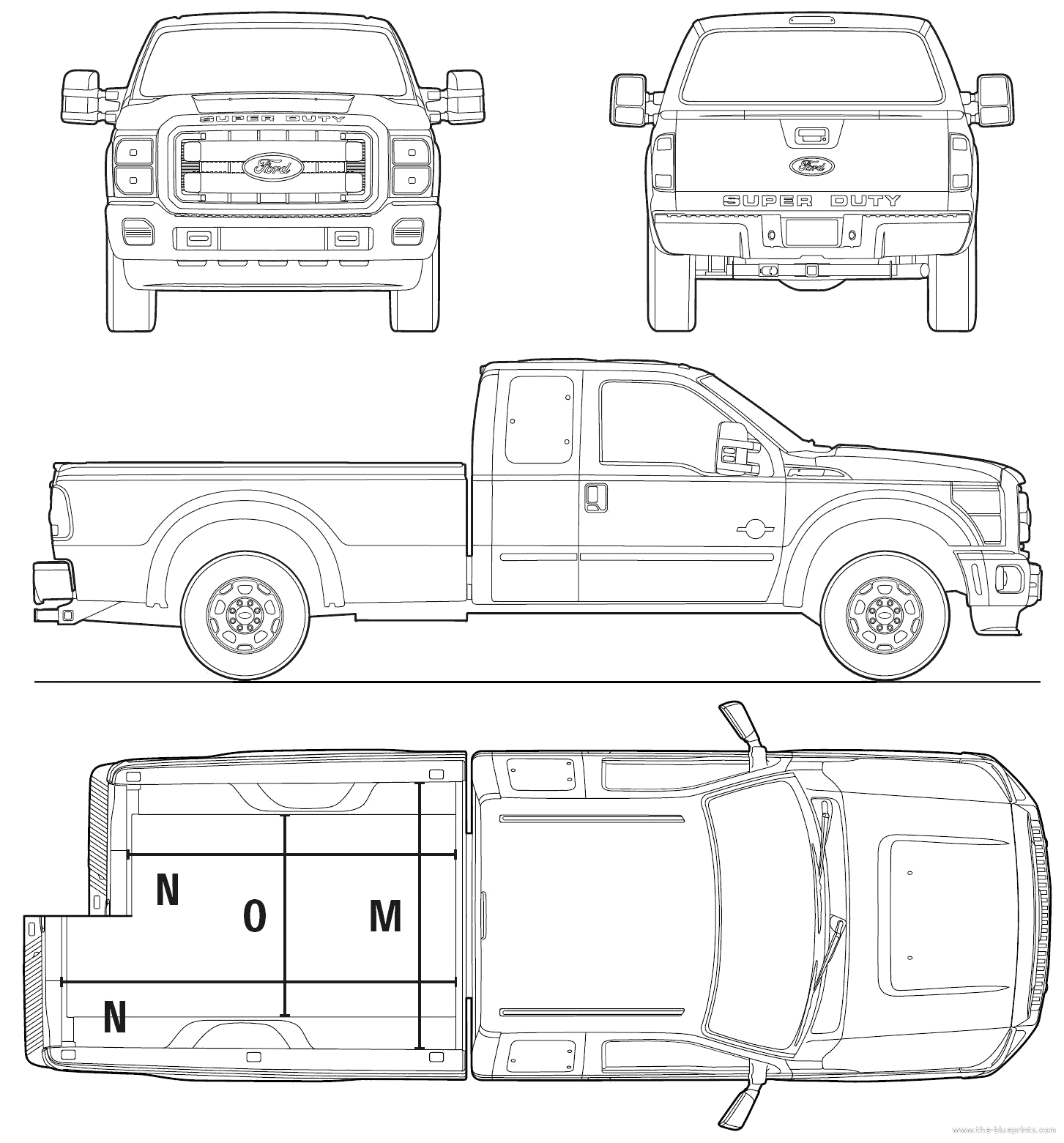 2010 ford super duty extended cab pickup truck blueprints