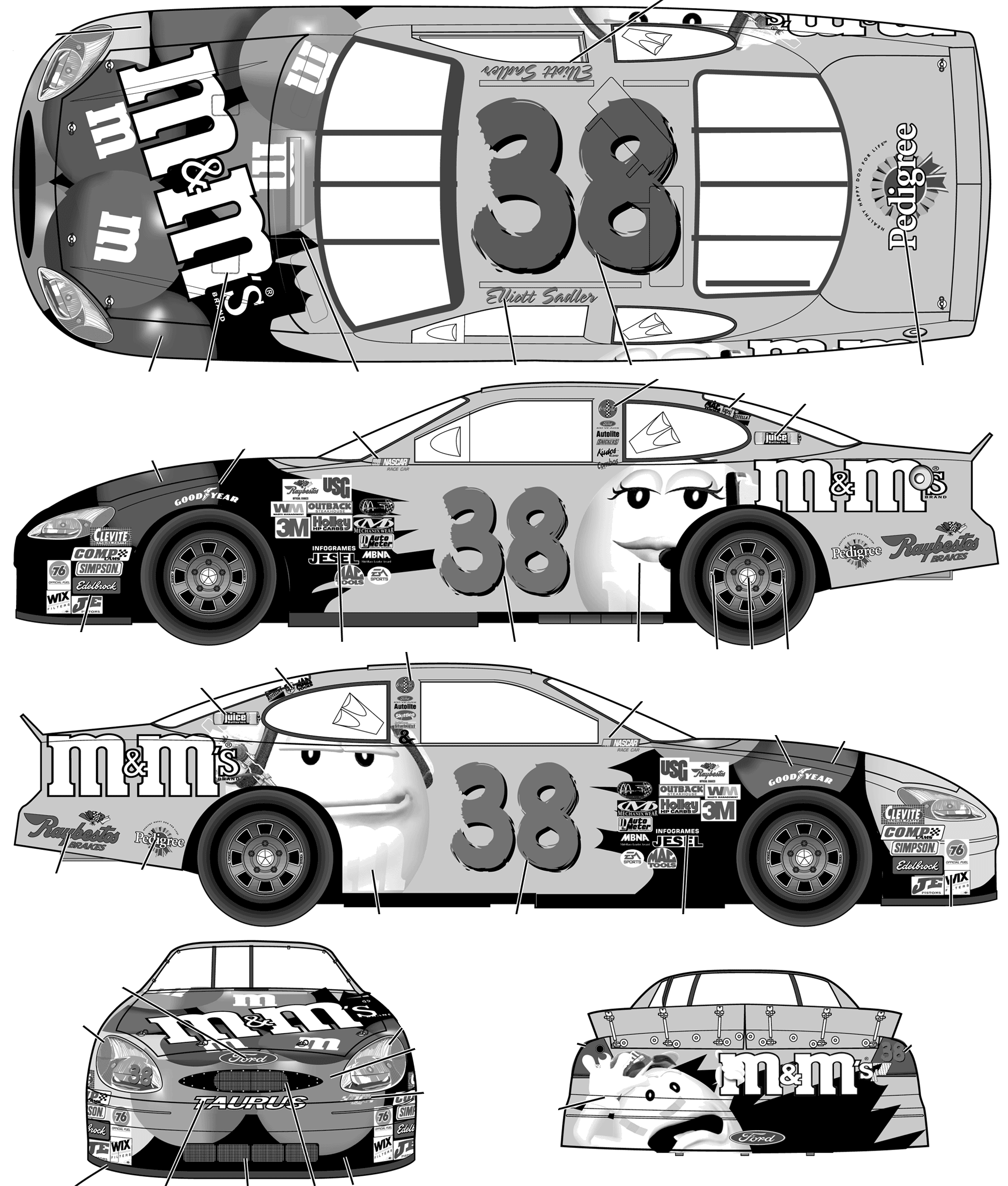 Ford taurus stock car no 38 elliot sadler mms coupe blueprints ford taurus stock car no 38 elliot sadler mms blueprints malvernweather Image collections