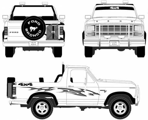 1980 ford bronco pickup truck blueprints free