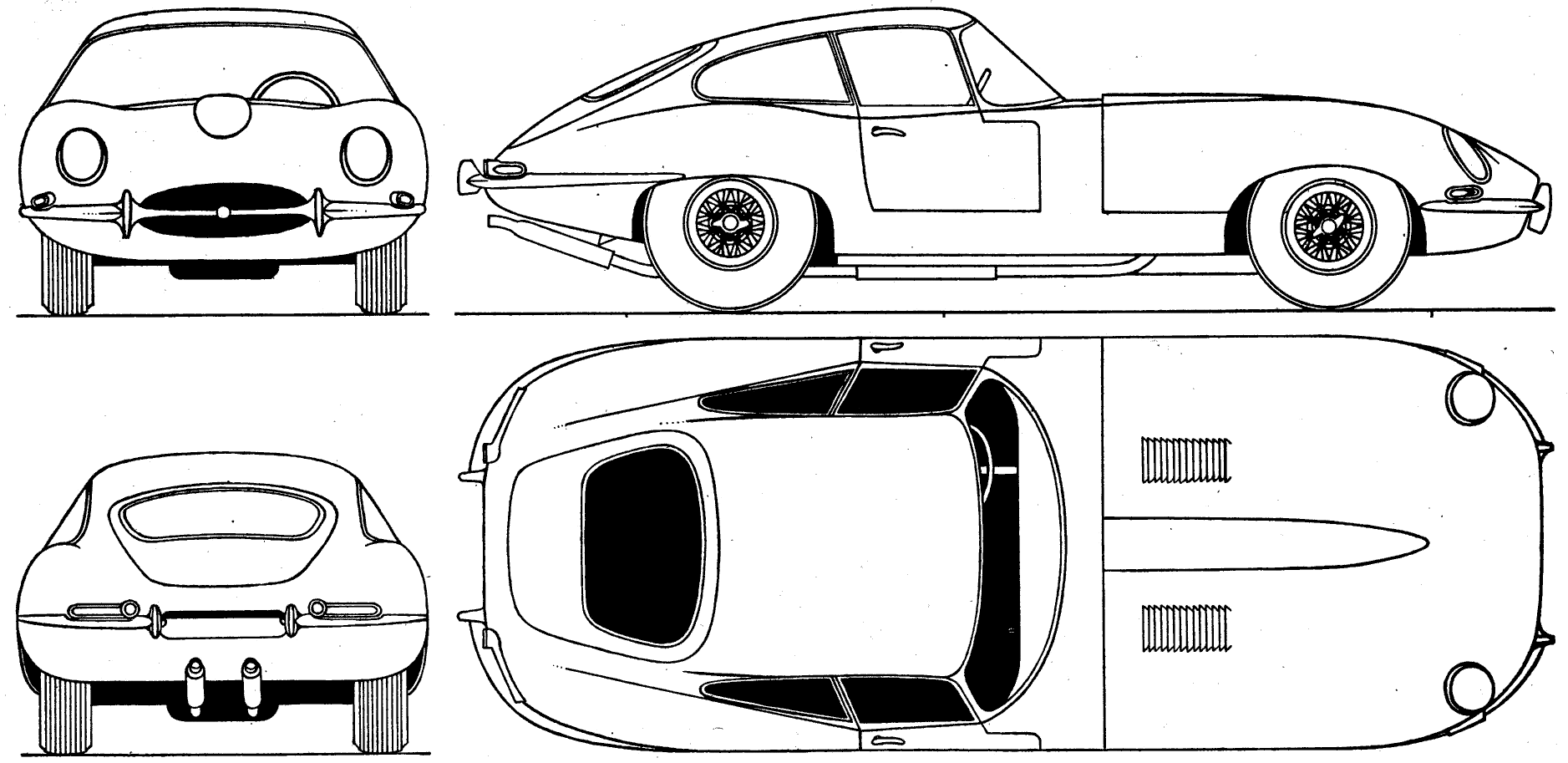 1961 jaguar e-type coupe blueprints free