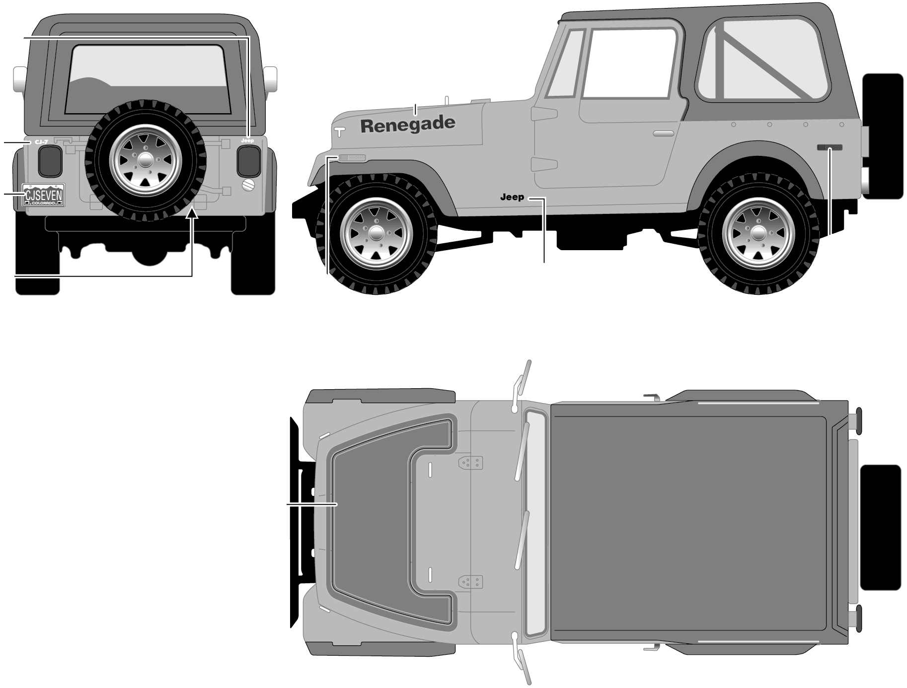 Jeep CJ7 Renegade blueprints