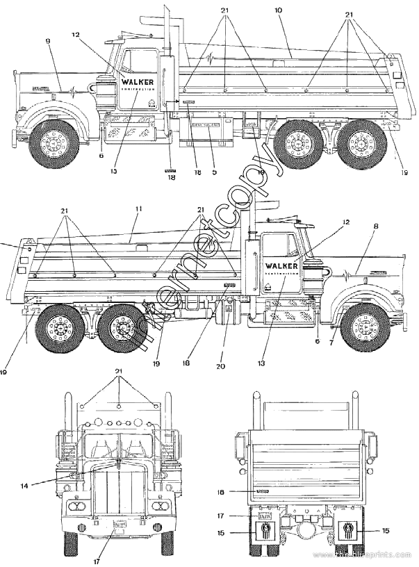 1994 Kenworth Dump Heavy Truck Blueprints Free