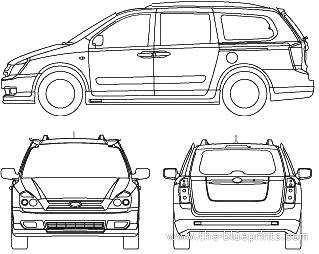 2010 Kia Carnival Minivan Blueprints