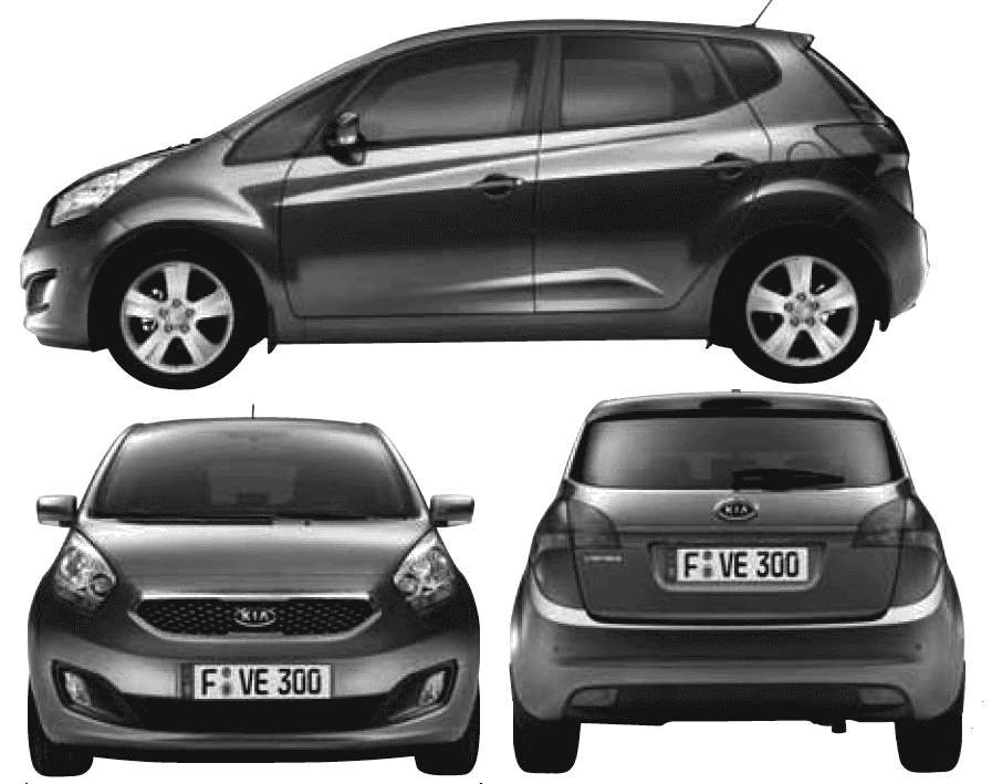 2010 Kia Venga Hatchback Blueprints Free Outlines