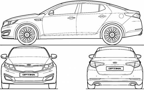 2011 Kia Optima K5 Sedan Blueprints Free Outlines