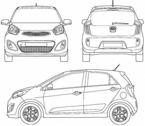 2011 kia picanto hatchback blueprints free outlines. Black Bedroom Furniture Sets. Home Design Ideas