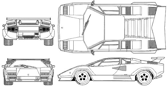 1988 Lamborghini Countach 5000qv Coupe Blueprints Free Outlines