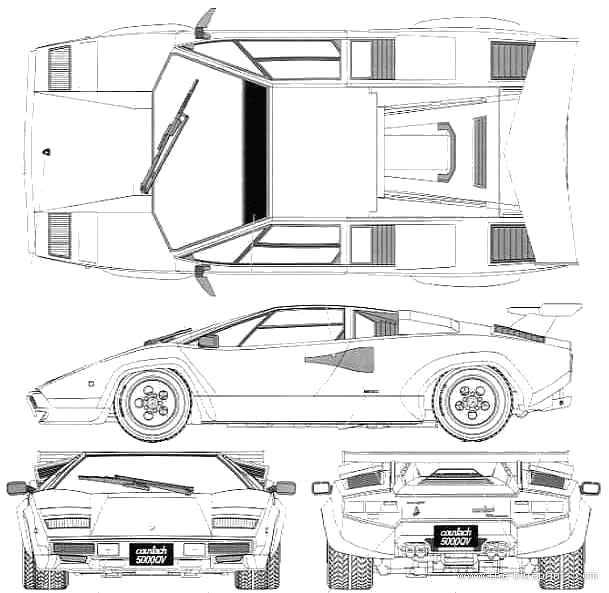 Lamborghini Countach 5000qv Coupe Blueprints Free Outlines