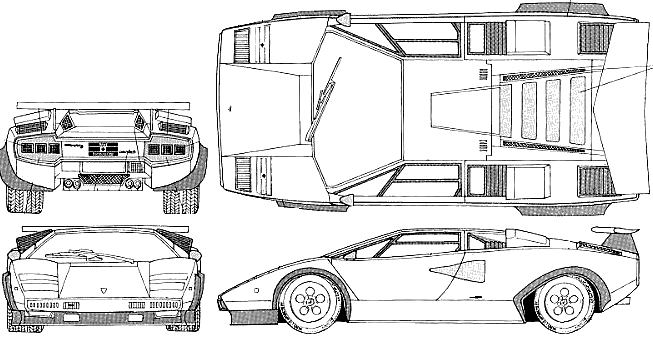 1982 Lamborghini Countach Lp500s Coupe Blueprints Free Outlines
