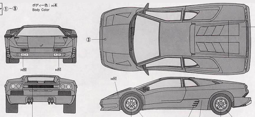1990 Lamborghini Diablo Coupe Blueprints Free Outlines