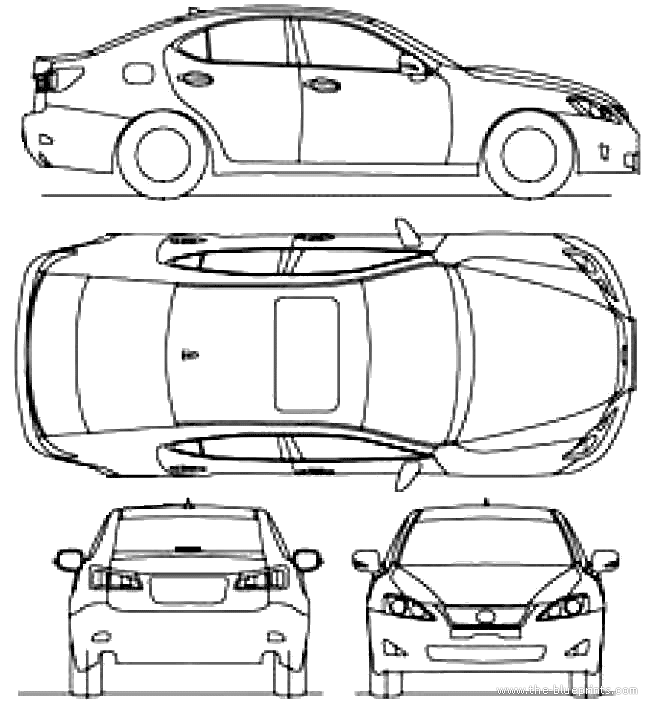 2010 lexus is-250 sedan blueprints free
