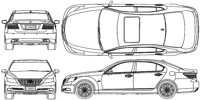 2008 lexus ls460l sedan blueprints free