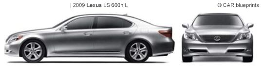 2009 Lexus LS 600h L Limousine blueprints free - Outlines