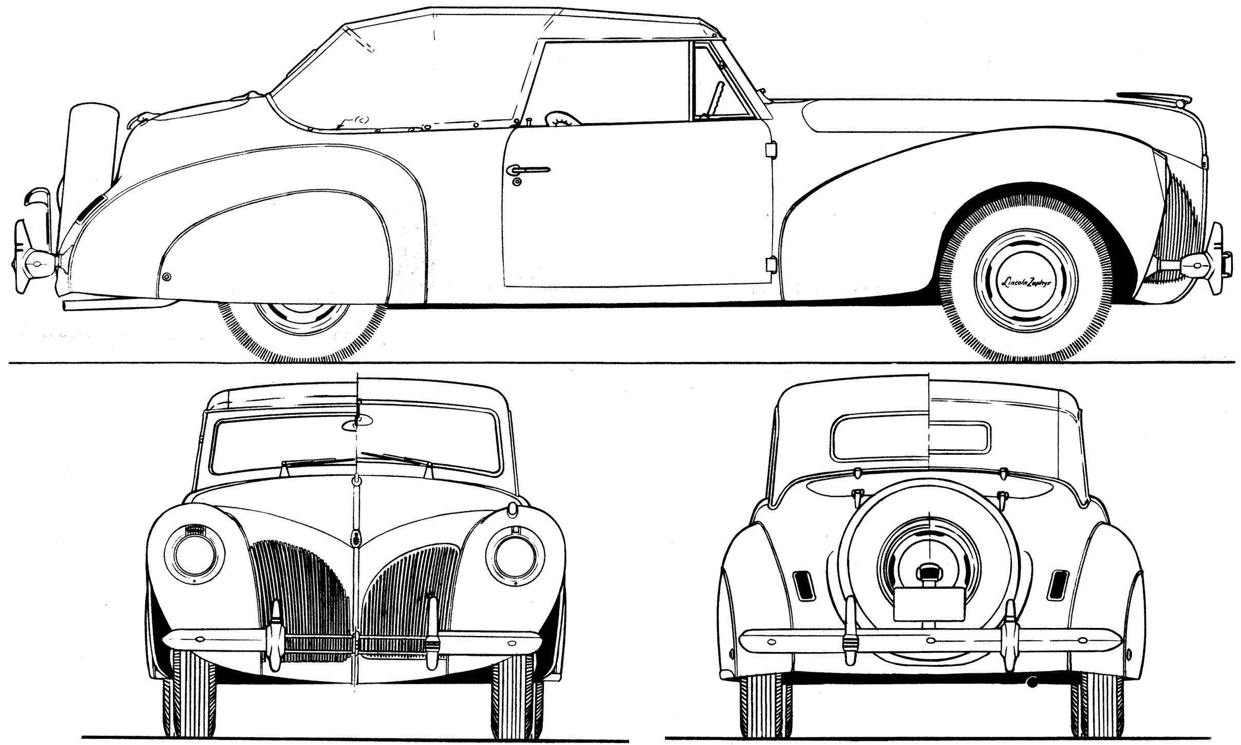 1940 lincoln zephyr continental v12 convertible cabriolet blueprints free